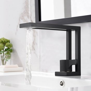 Luxe vierkante messing design wastafel mengkraan zwart
