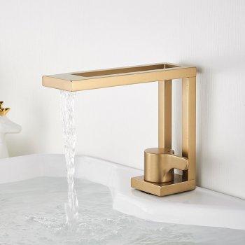 Luxe gouden messing design wastafel mengkraan vierkant