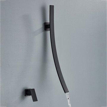 Zwarte wastafel kraan waterval 70cm lange uitloop mengkranen